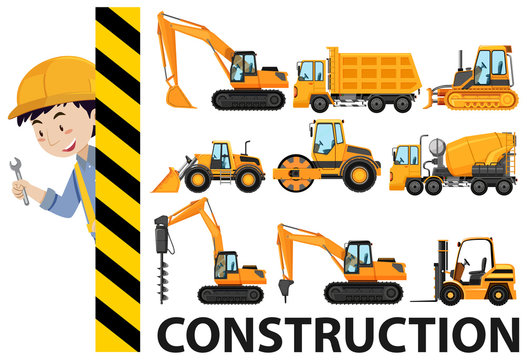 Worker and construction trucks