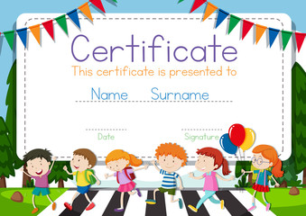 Certificate template with children crossing road background