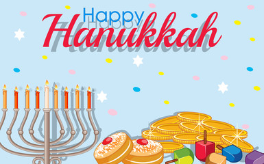 Happy Hanukkah card template with gold and lights