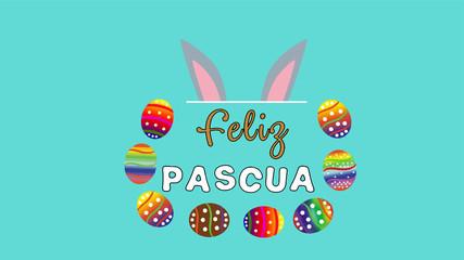 huevos formando medio circulo al rededor de la palabra feliz pascua fondo