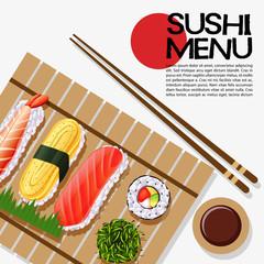 Sushi menu design on poster