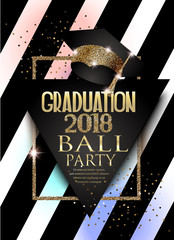Graduation 2018 party invitation card with hat, golden frame  and striped background. Vector illustration