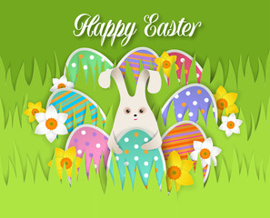 Happy Easter card, vector paper cut illustration