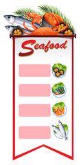 Background template with seafood on banner