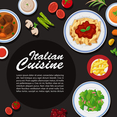Italian cuisine poster design with different plates