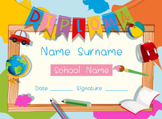 Certificate template with school supplies