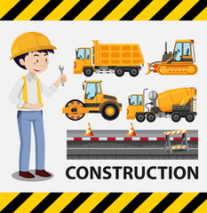 Construction worker and construction trucks