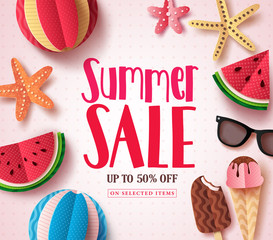 Summer sale vector banner design with sale text and beach paper cut colorful elements in white pattern background for summer seasonal discount promotion. Vector illustration.