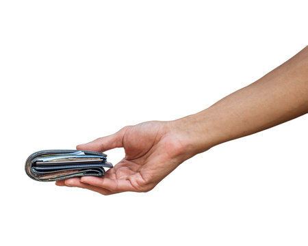 A man hand holding wallet with money isolated on white background with clipping path.