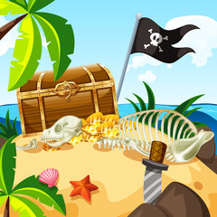 Island full of treasure and chest