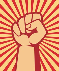 A clenched fist hand raised in the air, poster style vector