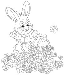 Easter egg hunt in flowers. Little bunny with a decorated basket collecting painted eggs among daisies, a black and white vector illustration for a coloring book