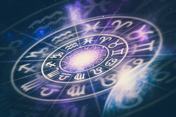 Astrological zodiac signs inside of horoscope circle