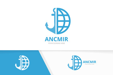 Vector anchor and planet logo combination. Marine and world symbol or icon. Unique navy and globe logotype design template.