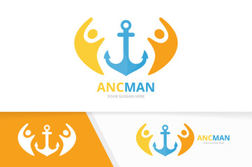 Vector anchor and people logo combination. Marine and family symbol or icon. Unique navy and union, help, connect, team logotype design template.