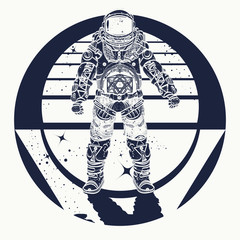 Astronaut tattoo. Cosmonaut in deep space triangular style and t-shirt design, art