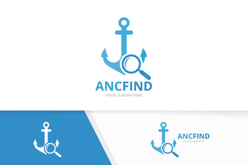 Vector anchor and loupe logo combination. Marine and magnifying symbol or icon. Unique navy and search logotype design template.