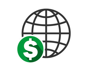 earth dollar currency financial money price economy image vector icon logo symbol