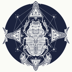 Egyptian scarab symbol of pharaoh, gods Ra, sun, t-shirt design, tattoos of ancient Egypt. Scarab, tattoo, ancient Egypt, mythology