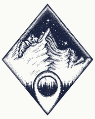 Mountains and map pointer t-shirt design. Mountain triangular style tattoo art. Symbol of climbing, camping, great outdoors, tourism, adventure, meditation