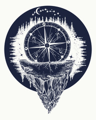 Compass and mountains tattoo and t-shirt design. Adventure, travel, outdoors, symbol. Tattoo for travelers, climbers, hikers t-shirt design. Mountain antique compass and wind rose
