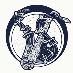 Saxophone and music notes. Notes take off from a saxophone, musical art. Sax and notes tattoo. Jazz tattoo and t-shirt design