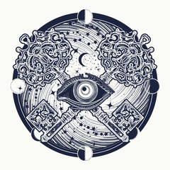 All seeing eye tattoo occult art, masonic symbol and vintage magic key. All seeing eye mystery of universe t-shirt design. Mystical esoteric symbol of secret knowledge