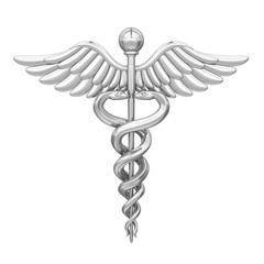 Caduceus Medical Symbol Isolated