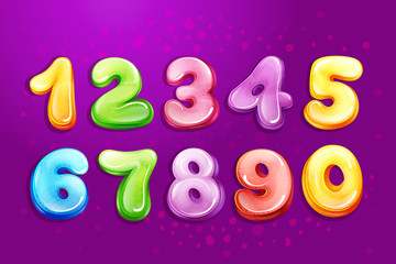 Vector colorful kids numbers, children font template. Preschool, kindergarten mathematics, game typography design glossy bubble style. Illustration cute education cartoon objects set purple background