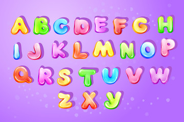 Vector colorful kids english alphabet, children font template Preschool, kindergarten game typography latin text design glossy bubble style letter. Cute education cartoon objects set purple background