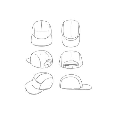 Hand drawn vector illustration of blank 5 panel camp hat,cap on white background