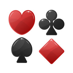 Playing card suit symbol. Red Hearts and Tiles Diamonds , black Clovers Clubs and Pikes Spades . Vector illustration.