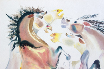 Abstract watercolor paintings of a horse herd