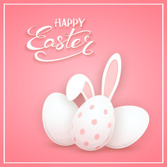 Rabbit ears with Easter egg on pink background