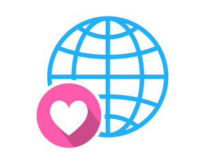 heart love globe image icon vector