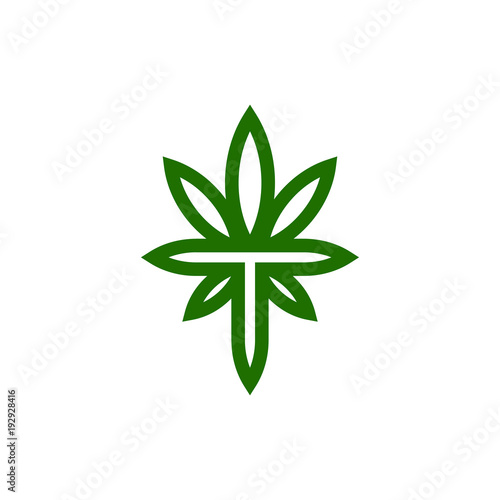 Marijuana Pot Weed Leaf Symbol And Letter T Stock Vector Stock