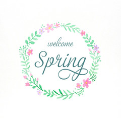 Welcome spring, Flowers wreath watercolors, Hand drawing flowers in watercolor style on white paper background, banner