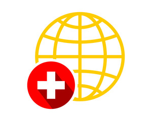 earth globe medicare medical circle symbol image vector icon logo