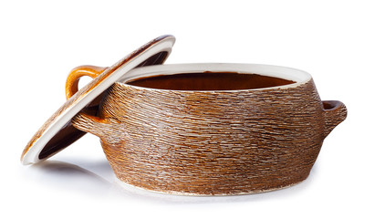 clay saucepan with open cover