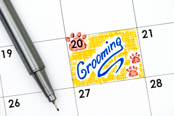 Reminder Grooming in calendar with pen.