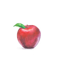 Red apple with green leaf, watercolor art
