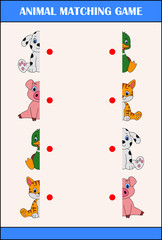 Matching halves game with farm animal characters