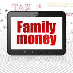 Banking concept: Tablet Computer with  red text Family Money on display,  Tag Cloud background, 3D rendering