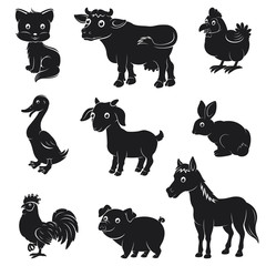 Farm animals silhouettes collection