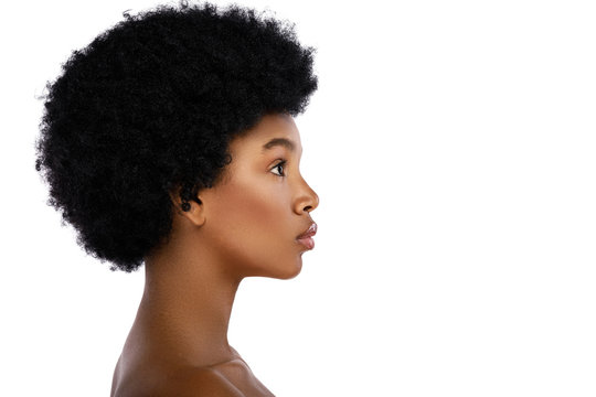 Face profile of young and cute african woman