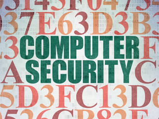 Security concept: Painted green text Computer Security on Digital Data Paper background with Hexadecimal Code