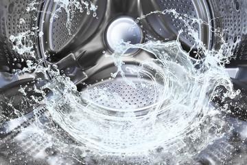 Water splash of the washing machine drum.
