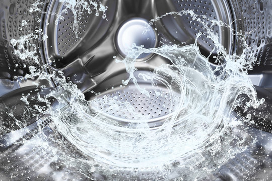 Water splash of the washing machine drum.
