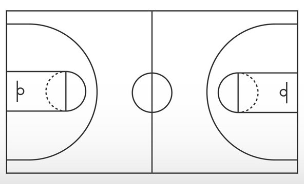Basketball court markup. Outline of lines on basketball court.