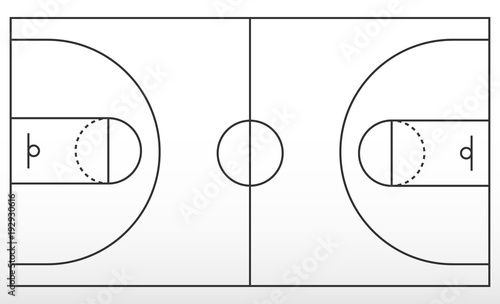 outline basketball court diagram